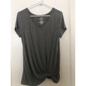 Gray Tie-Up Shirt